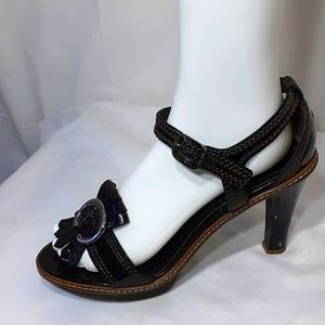 Celine chocolate brown patent leather heels